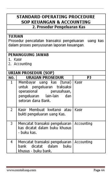 Keuangan Accounting Contoh Sop Dokumen Sop Terbaru 2019